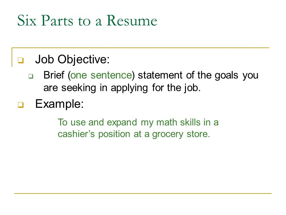 parts of resume objective