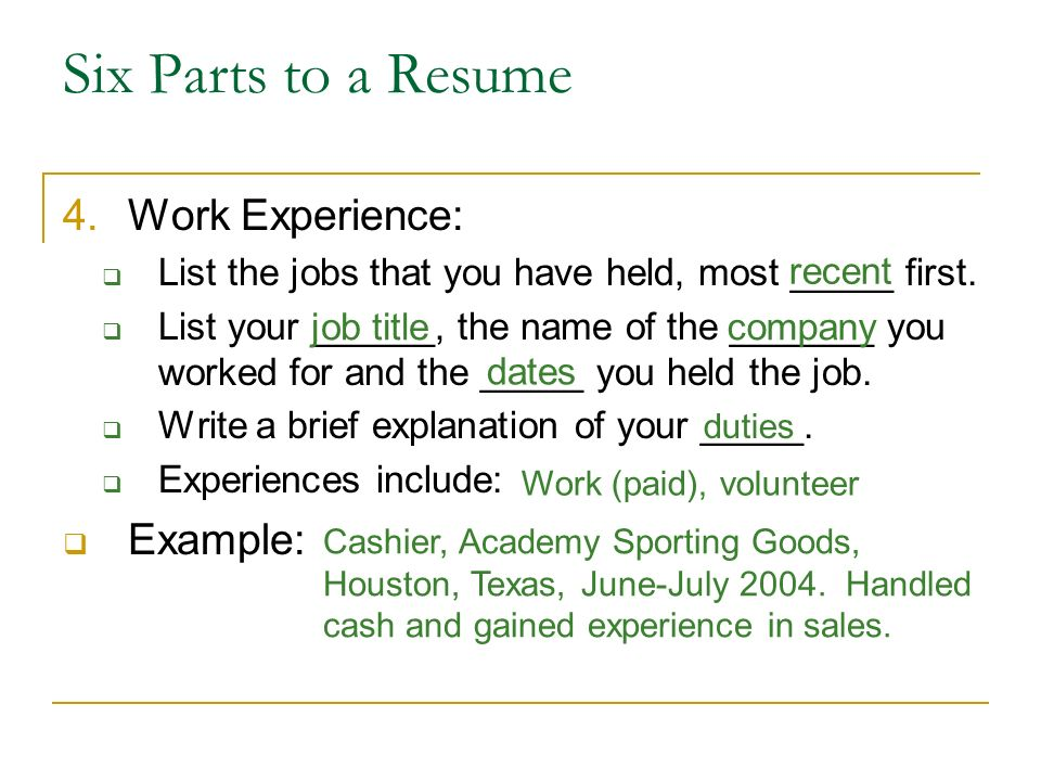 six parts to a resume work experience example
