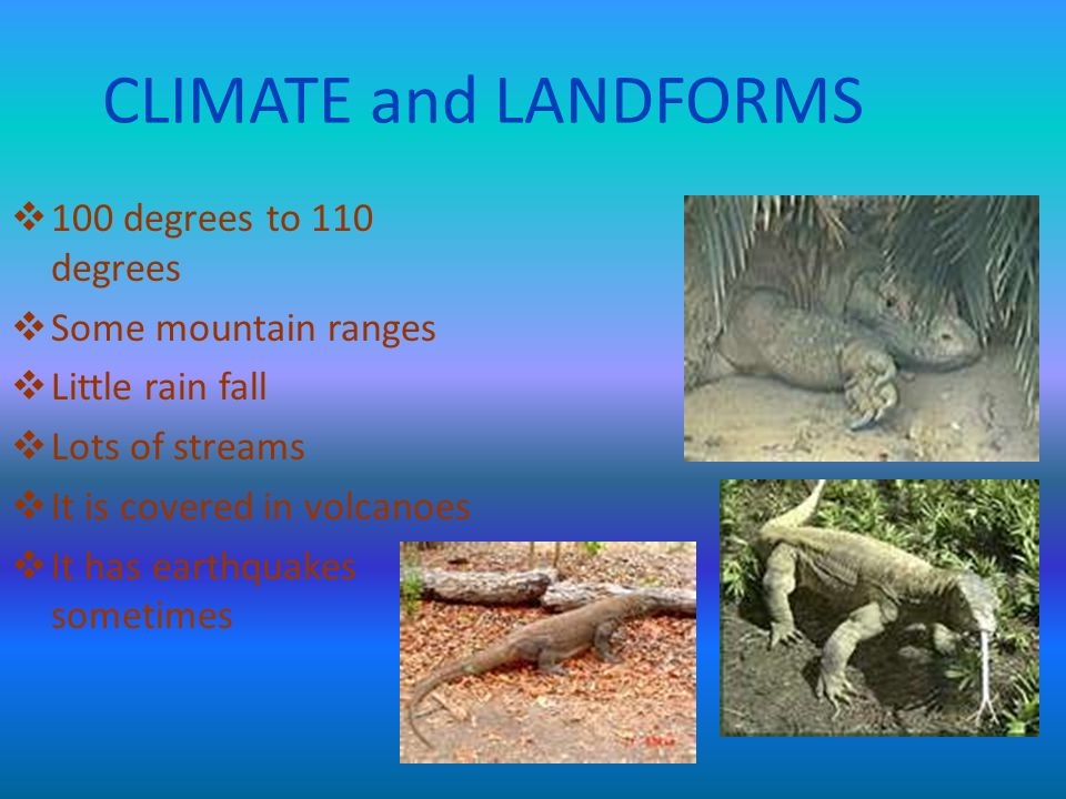 CLIMATE and LANDFORMS 100 degrees to 110 degrees Some mountain ranges