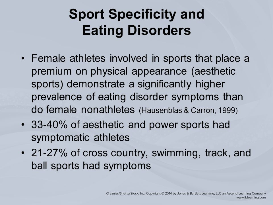 athletes and eating disorders essay So how prevalent are eating disorders among athletes in a large-scale study of 1,445 division i ncaa student athletes (johnson, powers & dick 1999), many of the female athletes reported attitudes and symptoms that placed them at risk for anorexia nervosa or bulimia nervosa.