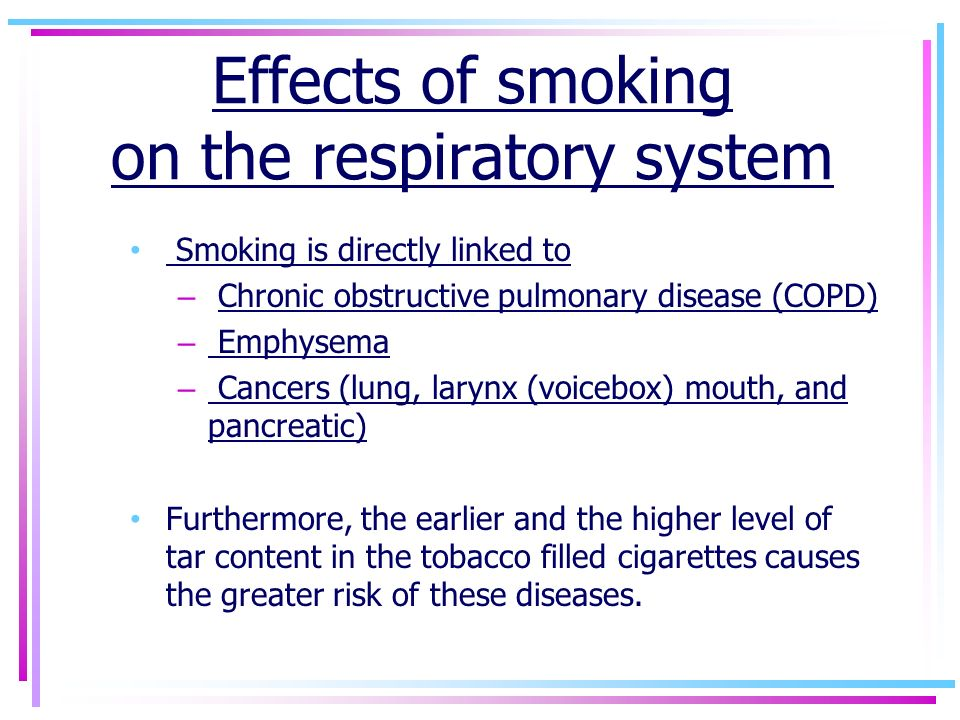 effects of smoking on the respiratory system essay Kidshealth / for kids / smoking stinks what's when people try smoking for the first time  your lungs & respiratory system dealing with peer pressure.