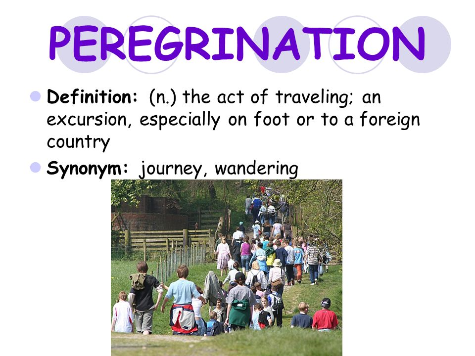 PEREGRINATION Definition: (n.) The Act Of Traveling; An Excursion,  Especially