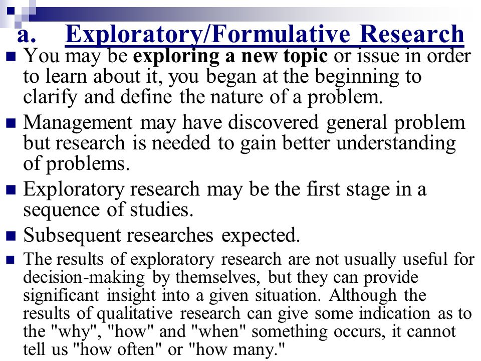 Define exploratory research