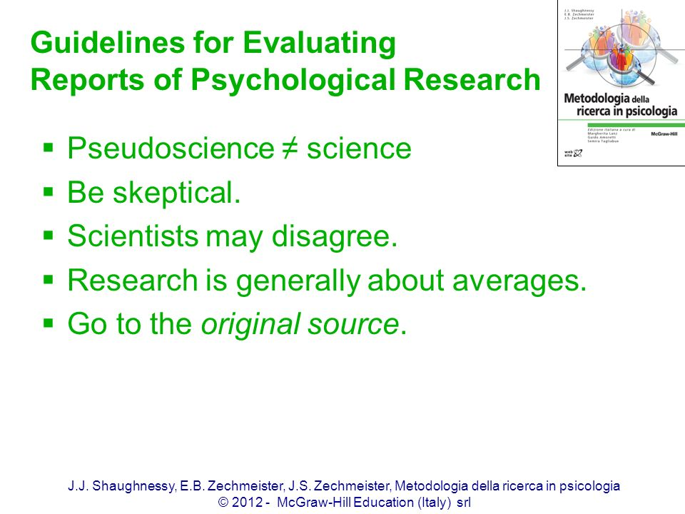 Guidelines for Evaluating Reports of Psychological Research