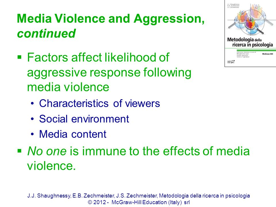 Media Violence and Aggression, continued