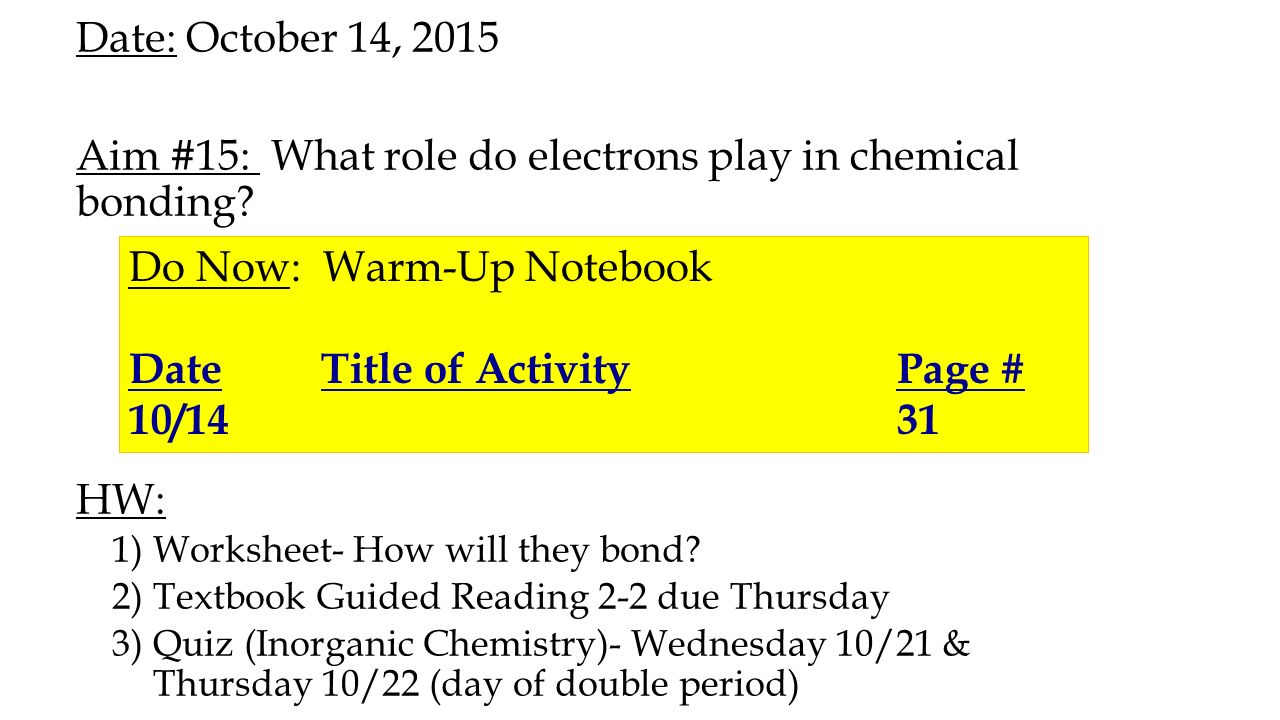 date october 13 2015 aim 15 what role do electrons play in chemical bonding hw worksheet. Black Bedroom Furniture Sets. Home Design Ideas