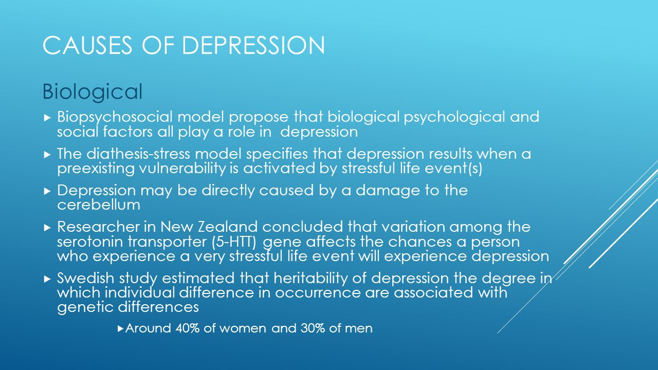 women and depression biological factors Clinical depression affects women twice as often as men as with many mental disorders, a variety of factors may be involved with the onset of depression in women specific attention has been paid to the biological factors, such as the changes in the brain, hormones, and genetics neurotransmitters.