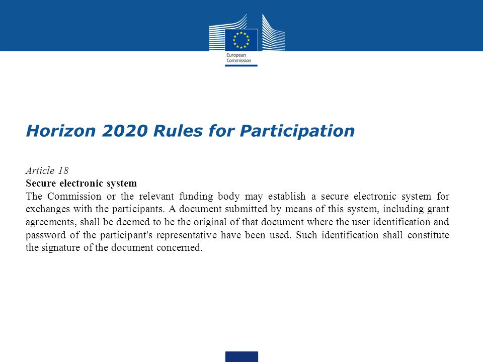 Horizon 2020 Rules for Participation