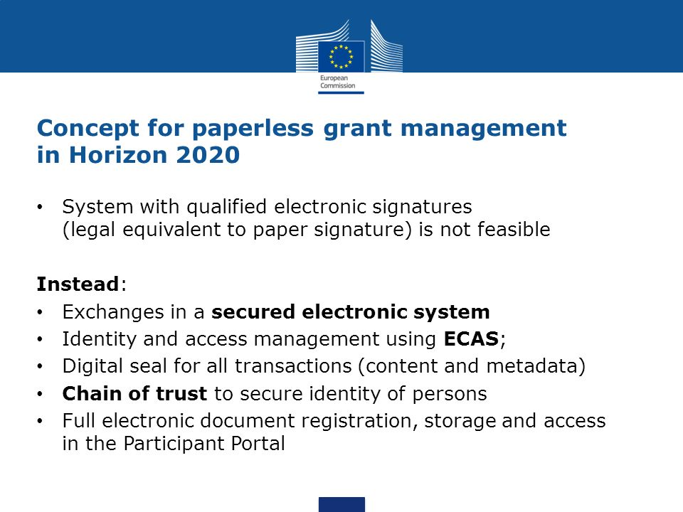 Concept for paperless grant management in Horizon 2020