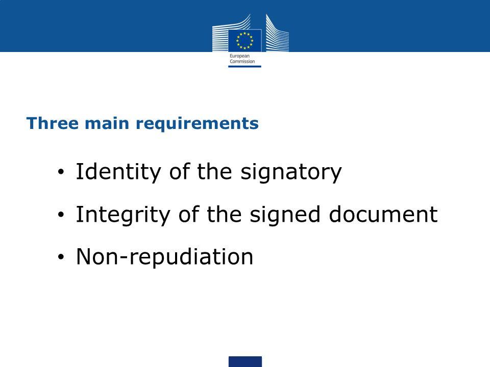 Three main requirements