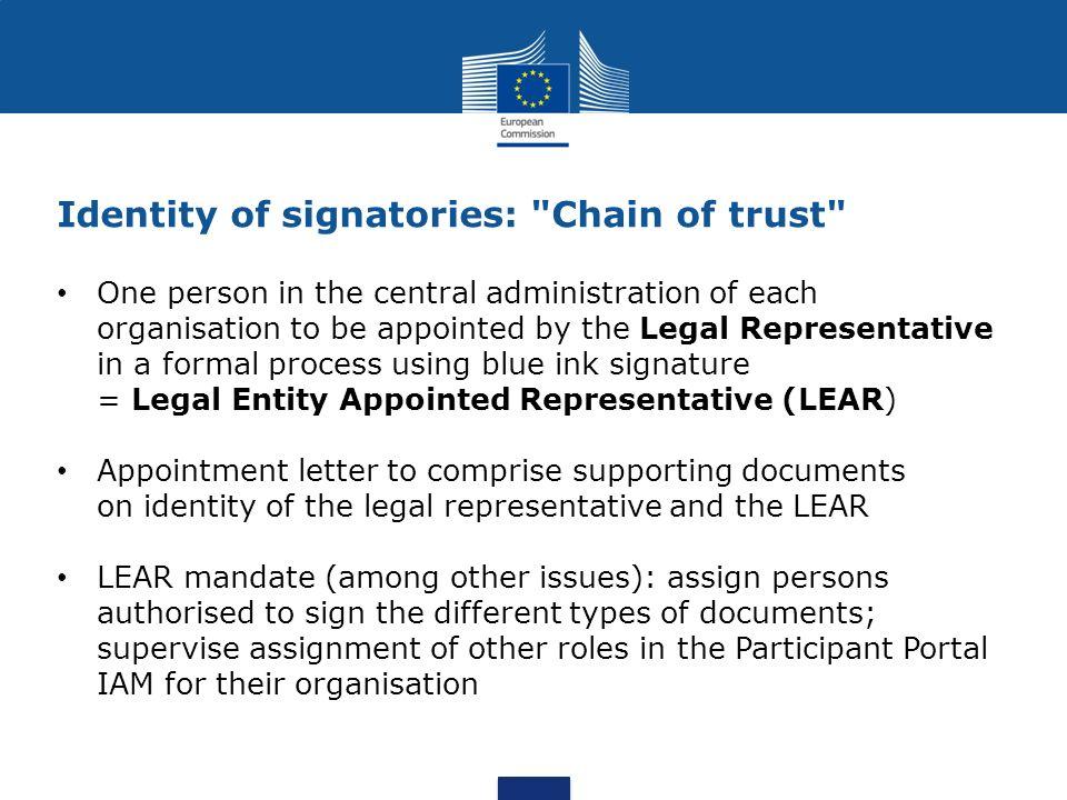 Identity of signatories: Chain of trust