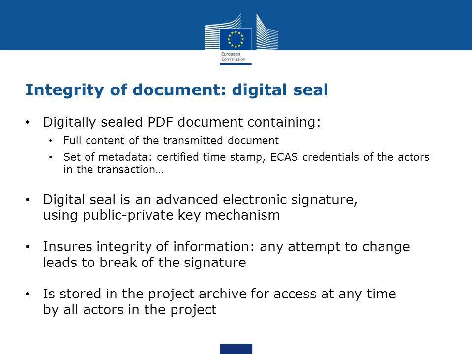 Integrity of document: digital seal