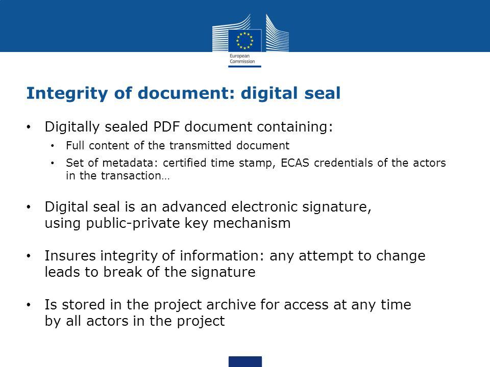 Integrity of document: digital seal