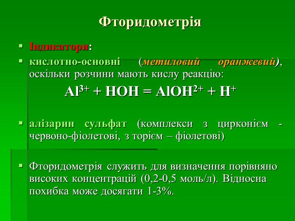 Фторидометрія Al3+ + HOH = AlOH2+ + H+