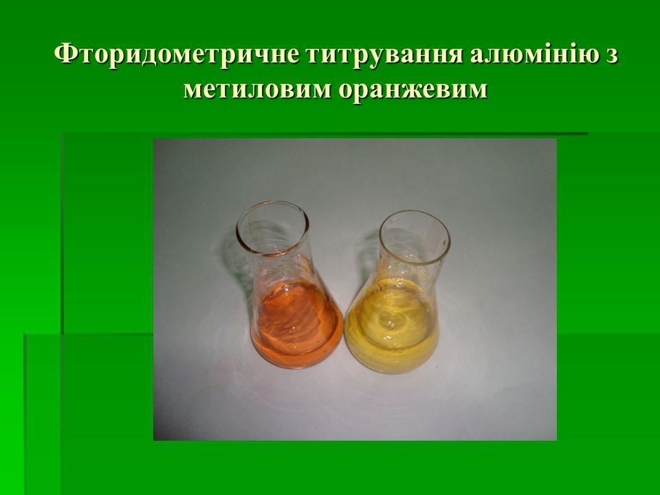 Фторидометричне титрування алюмінію з метиловим оранжевим