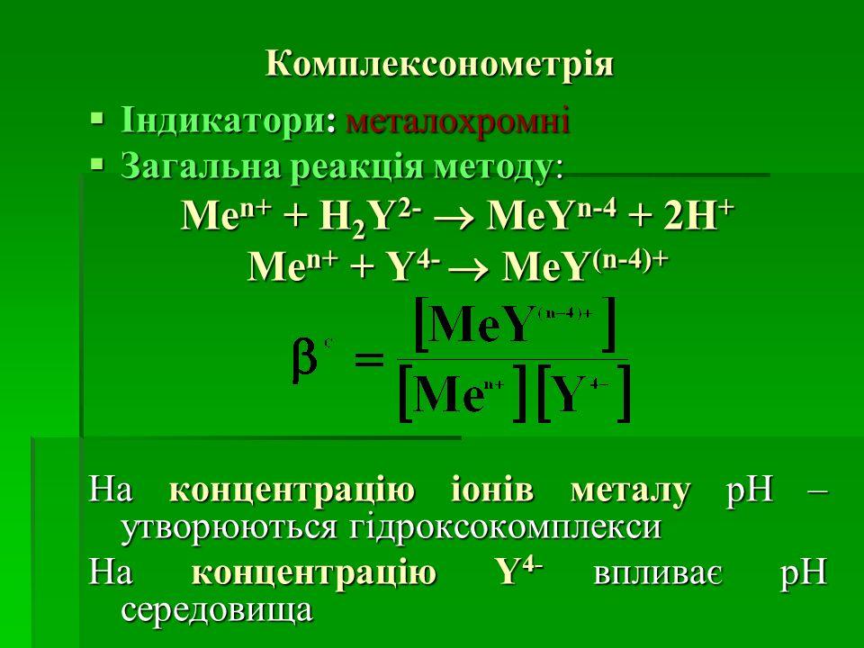 Men+ + H2Y2-  MeYn-4 + 2H+ Men+ + Y4-  MeY(n-4)+