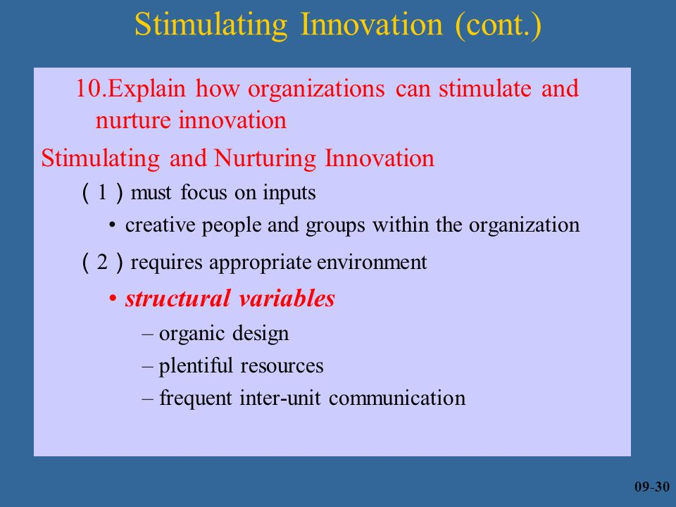 stimulating innovation Abstract this presentation focus on companies' need to manage an understand the appropriate balance of open innovation for creating successful products, faster than.
