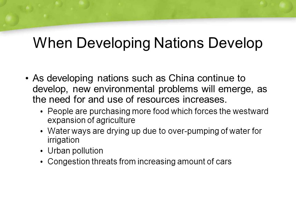 When Developing Nations Develop