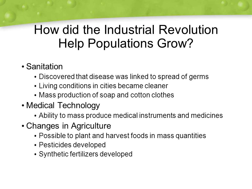How did the Industrial Revolution Help Populations Grow