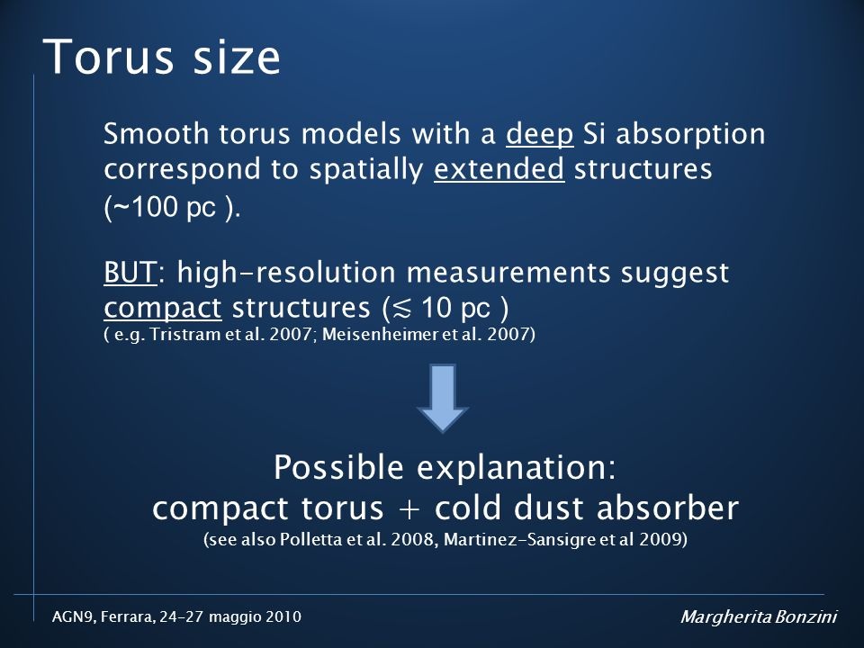 Torus size Possible explanation: compact torus + cold dust absorber