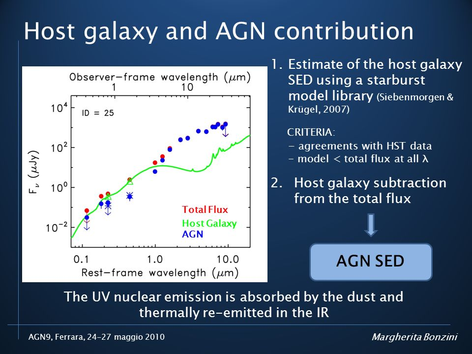 Host galaxy and AGN contribution
