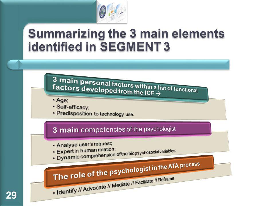 Summarizing the 3 main elements identified in SEGMENT 3