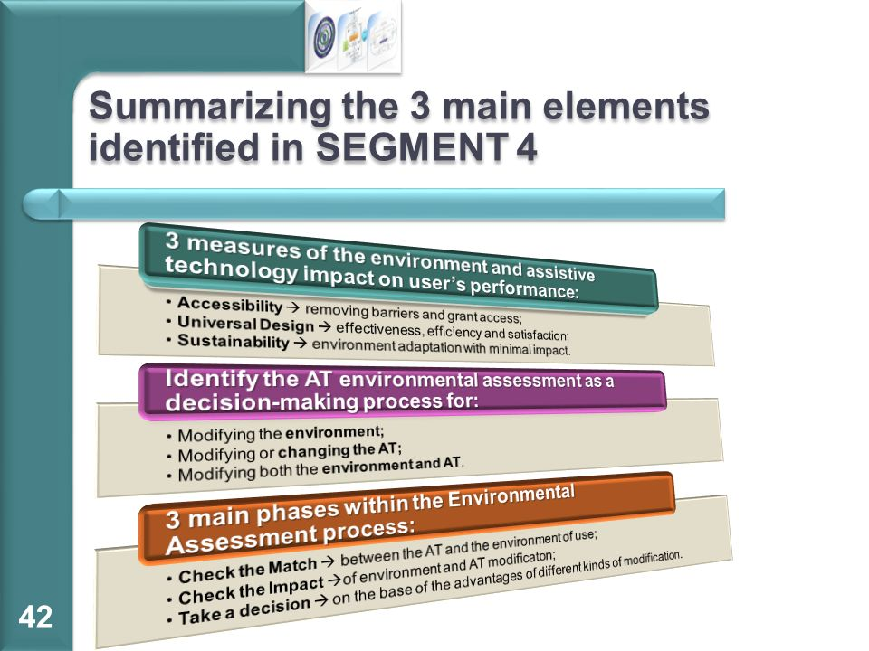 Summarizing the 3 main elements identified in SEGMENT 4