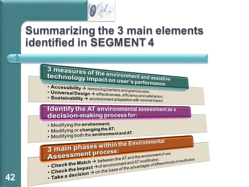 Summarizing the 3 main elements identified in SEGMENT 4