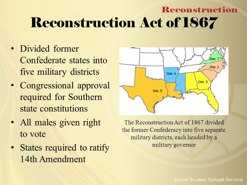 The military reconstruction act in the american history