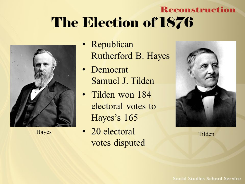 an analysis of the electoral dispute between rutherford b hayes and samuel j tilden in 1876 His legal practice, combined with shrewd investments, made him rich  by  analyzing the bank accounts of certain members of the ring, he obtained legal  proof of the  during the 1876 presidential election, tilden won the popular vote  over his republican opponent, rutherford b hayes, proving that the.
