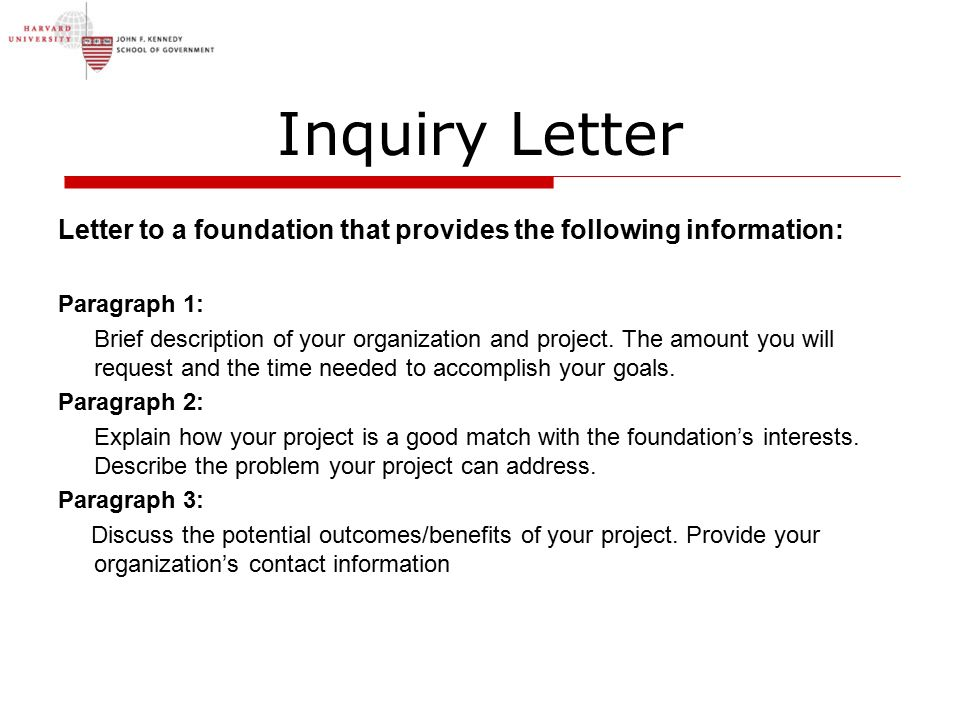 how to write a letter of inquiry for a grant