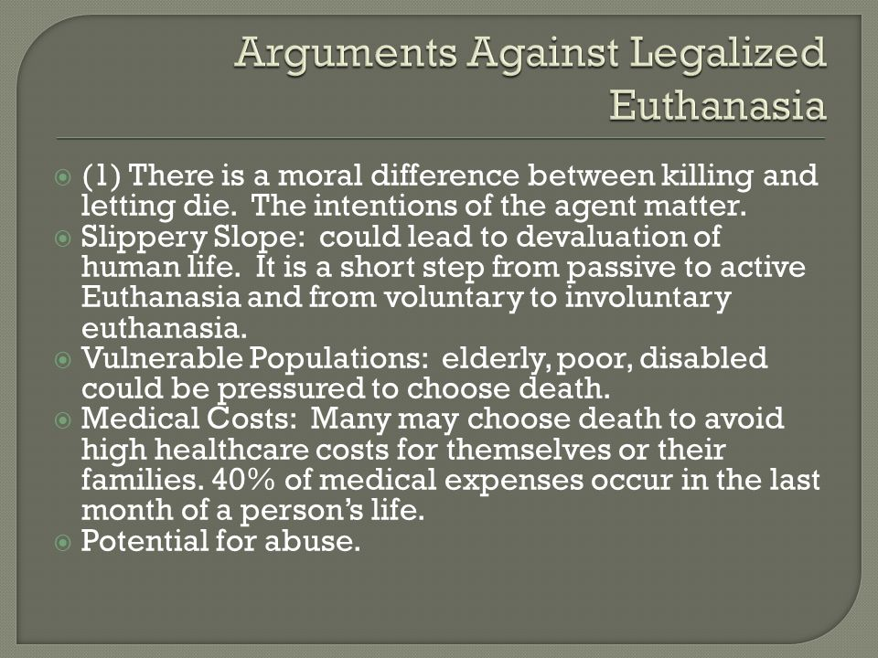 Distinguishing between active and passive euthanasia.