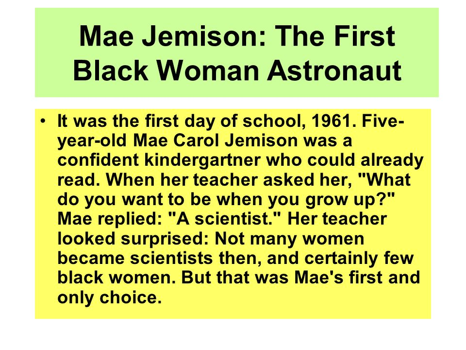 Mae Jemison: The First Black Woman Astronaut