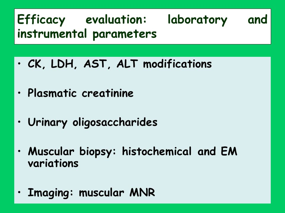 Efficacy evaluation: laboratory and instrumental parameters