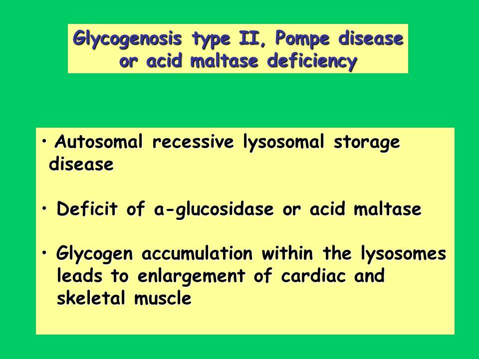 Glycogenosis type II, Pompe disease or acid maltase deficiency