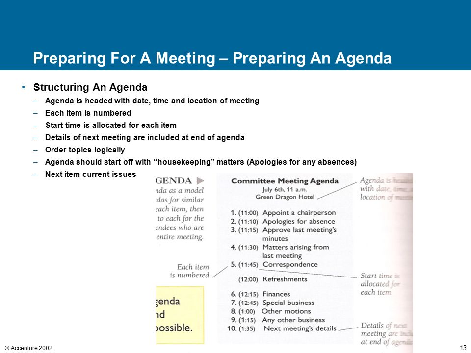 Preparing For A Meeting U2013 Preparing An Agenda  Preparing Meeting Agenda