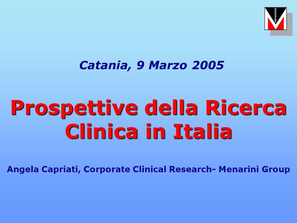 Catania, 9 Marzo 2005 Prospettive della Ricerca Clinica in Italia Angela Capriati, Corporate Clinical Research- Menarini Group