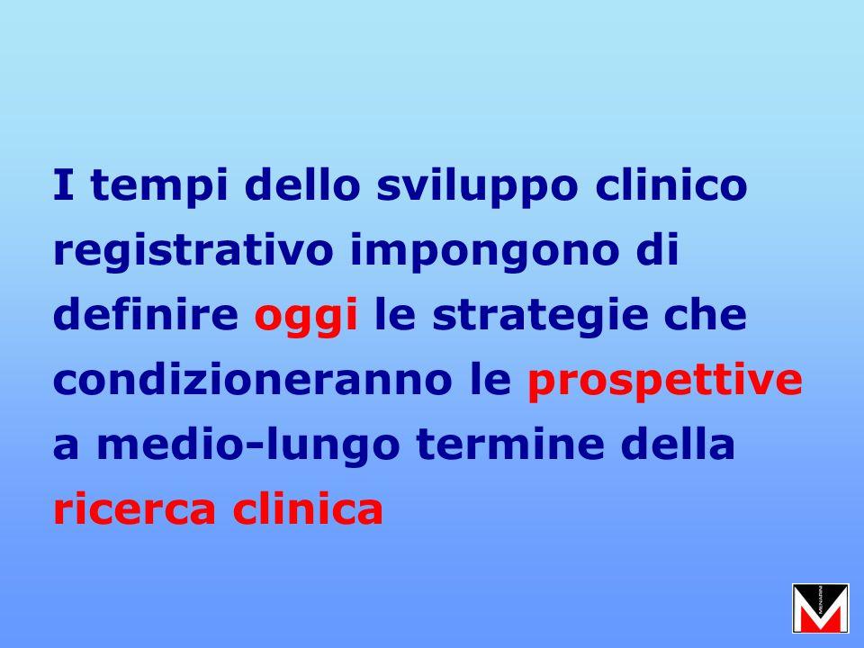 I tempi dello sviluppo clinico registrativo impongono di definire oggi le strategie che condizioneranno le prospettive a medio-lungo termine della ricerca clinica
