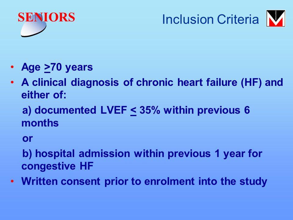 SENIORS Inclusion Criteria Age >70 years