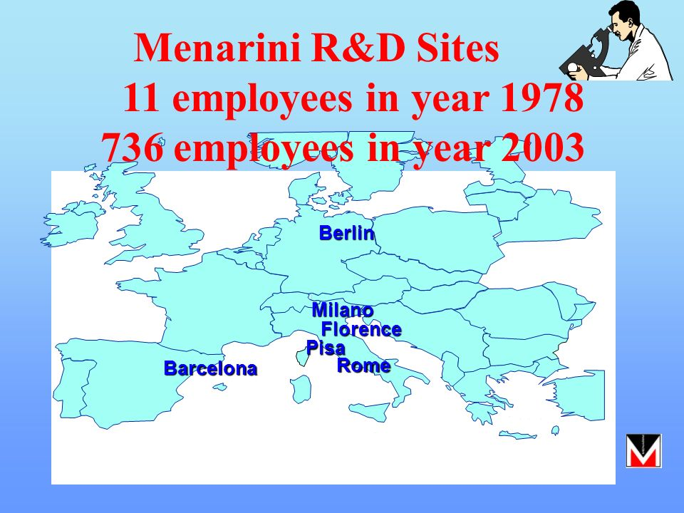 Menarini R&D Sites 11 employees in year 1978 736 employees in year 2003