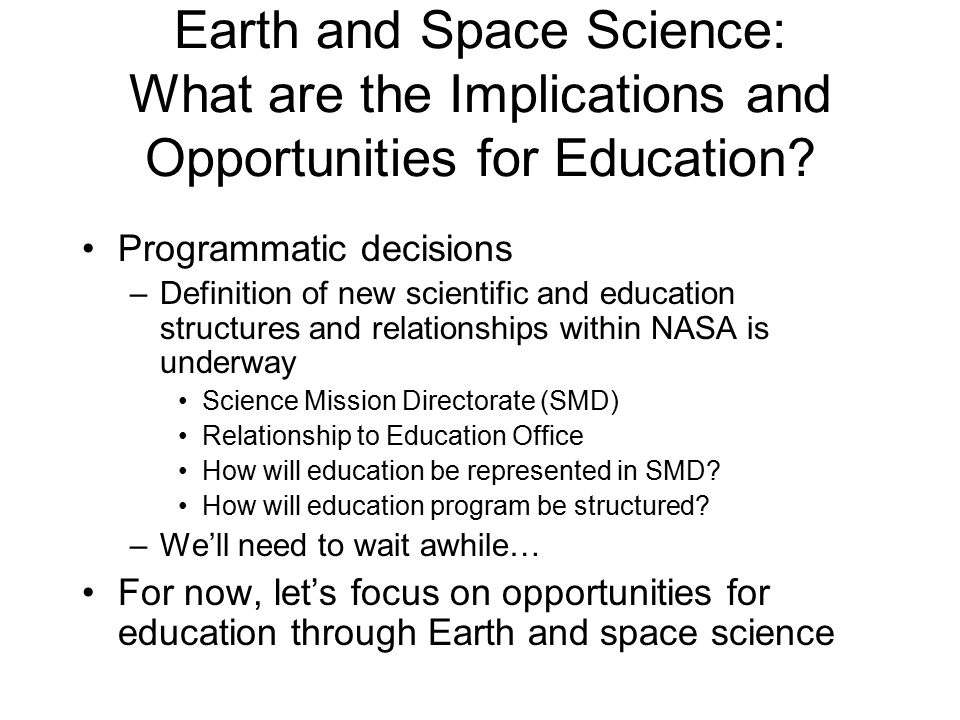 Earth and space science what are the implications and for Definition of space in a relationship