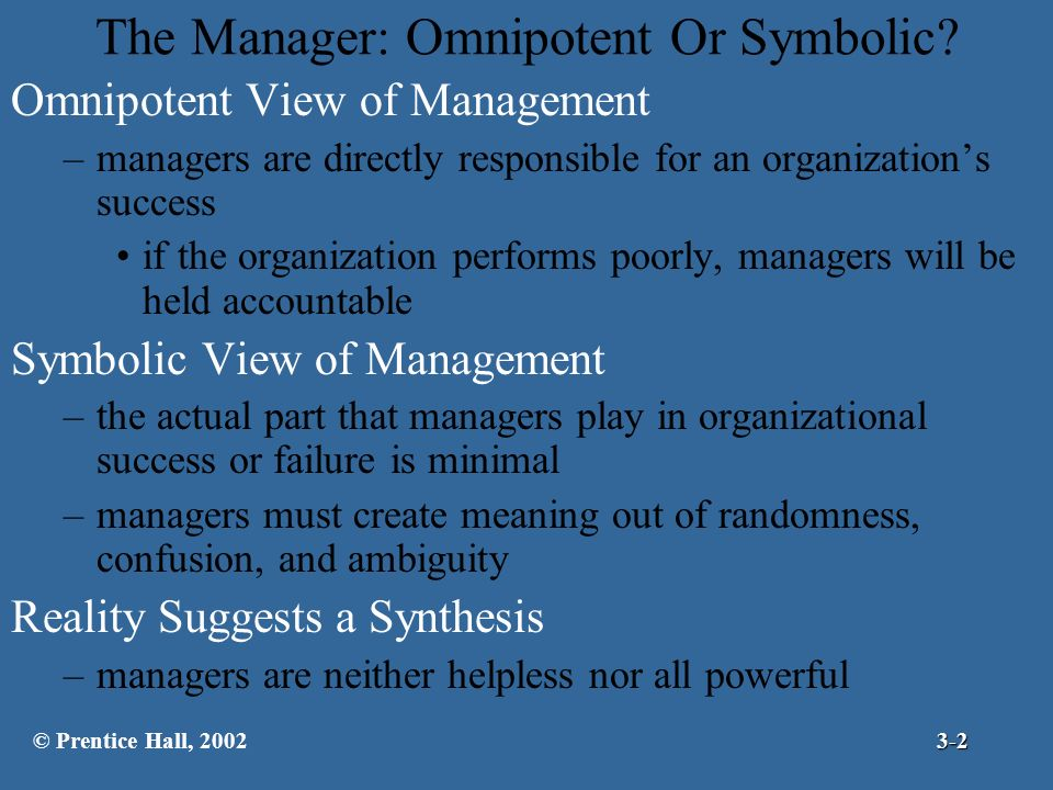 symbolic view of management Symbolic view of management is the view that managers have only a limited effect on substantive organizational outcomes because of large number of factors outside their contro l answered.