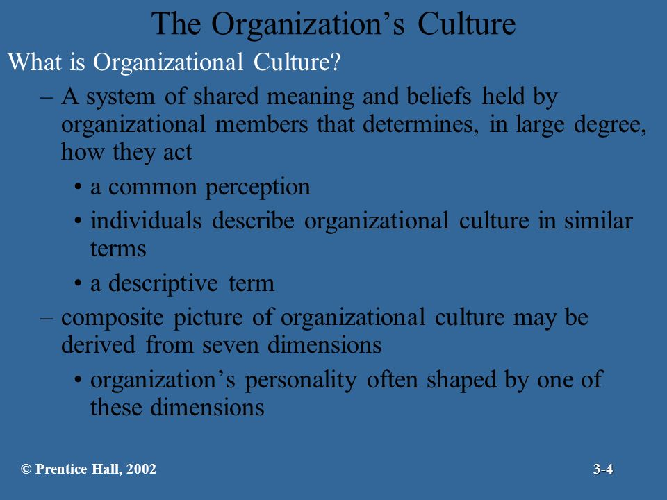 organisation culture is a descriptive term Culture is a descriptive term september 13, 2008 sree rama rao human resource management organizational culture is concerned with how employees perceive the characteristics of an organization's culture, not with whether or not they like them.
