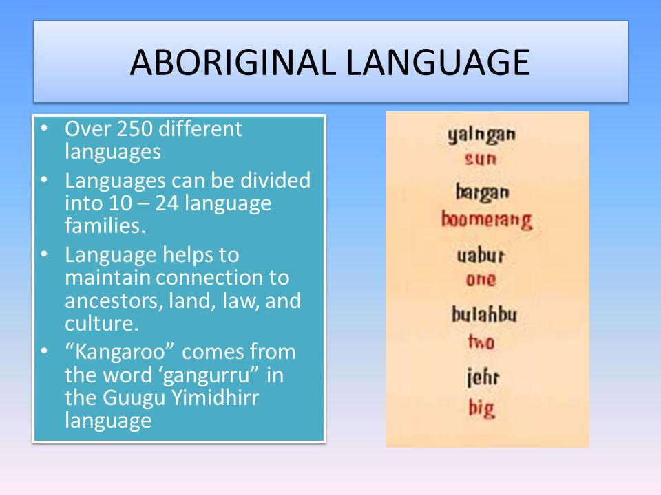 ABORIGINAL LANGUAGE Over 250 different languages