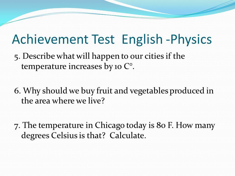 Achievement Test English -Physics