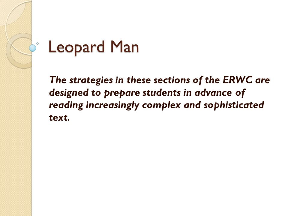 the sociology of leopard man
