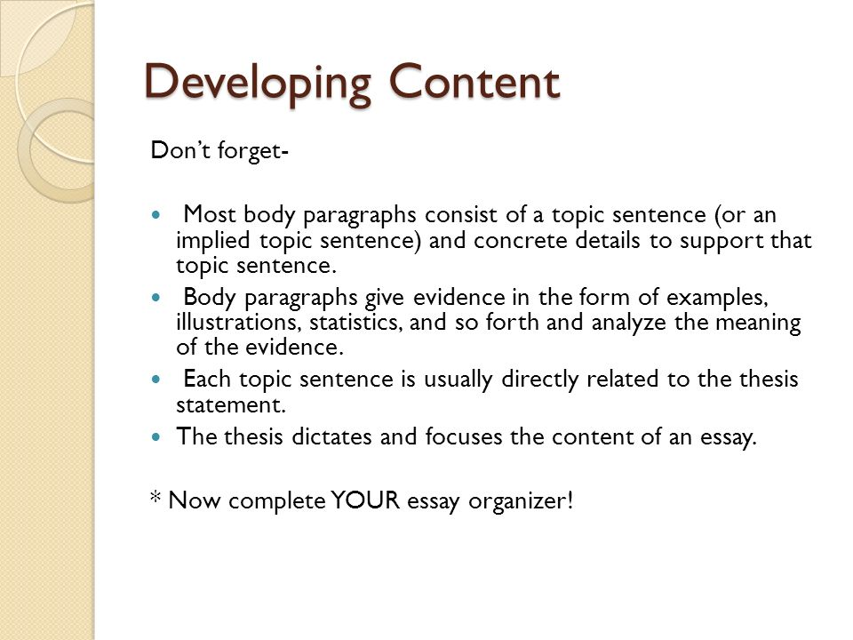 essay about implied topic sentence