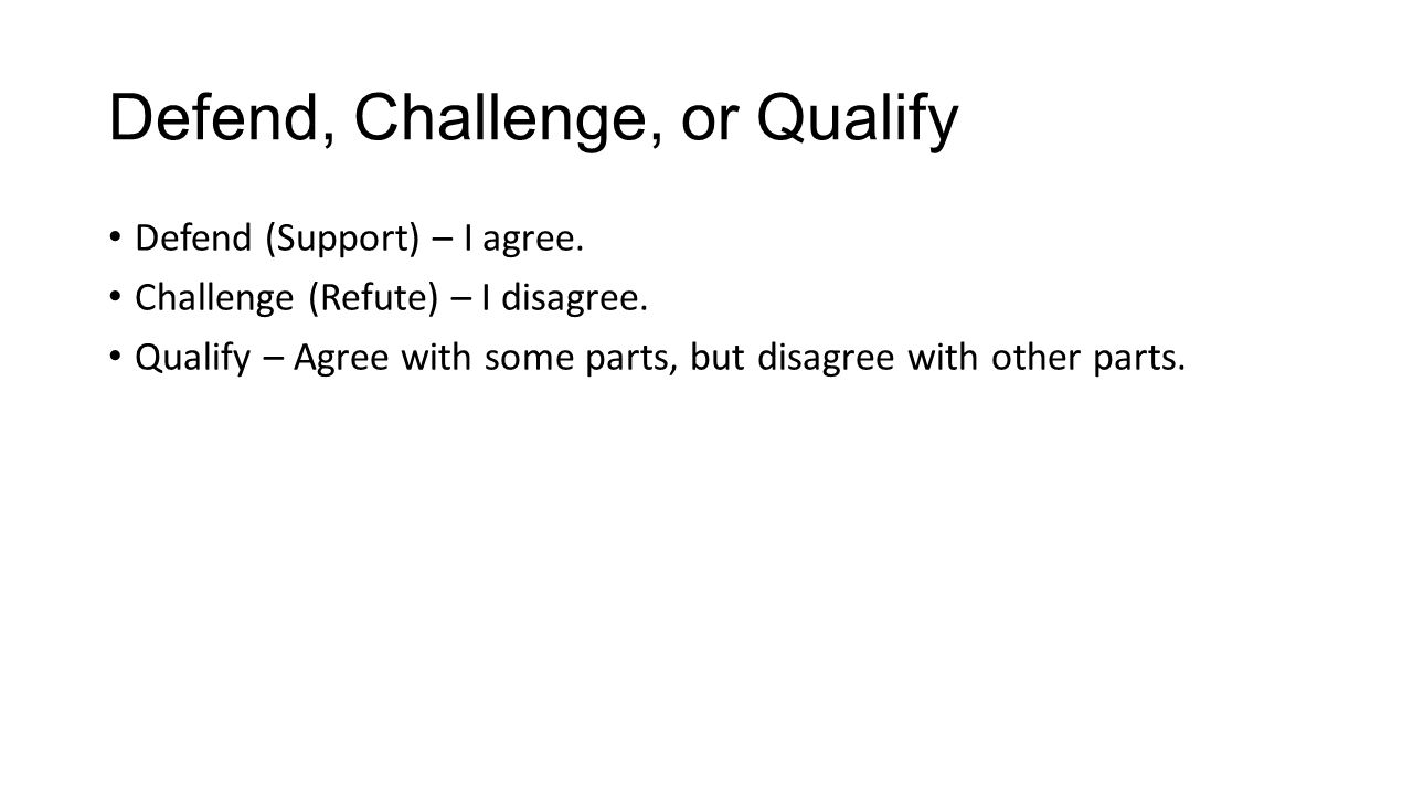 defend challenge qualify essay Defend, challenge, qualify category education show more show less loading autoplay when autoplay is enabled, a suggested video will automatically play next up next how to spot a liar | pamela meyer - duration: 18:51 ted  how to write an argumentative essay by shmoop - duration: 2:56 shmoop 428,965 views 2:56 how to qualify an expert witness - duration: 2:56 trial ad at charleston law 4,497 views 2:56.