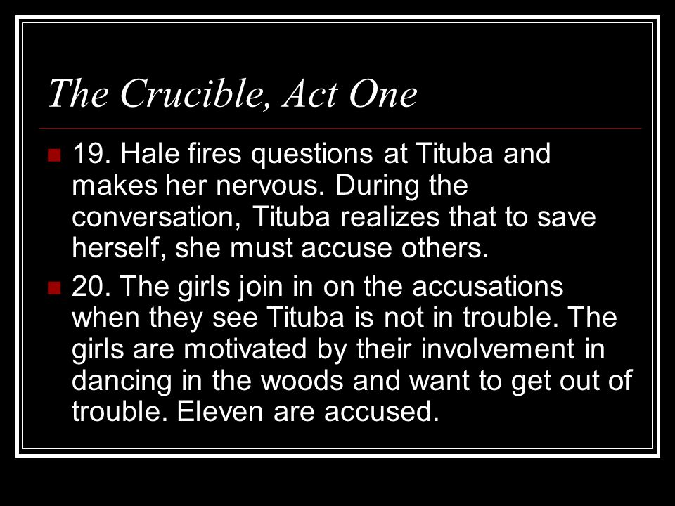 accusations in the crucible and the Read common sense media's the crucible review, age rating, and parents guide  soon the entire community is ruled by fear as the accusations fly, .