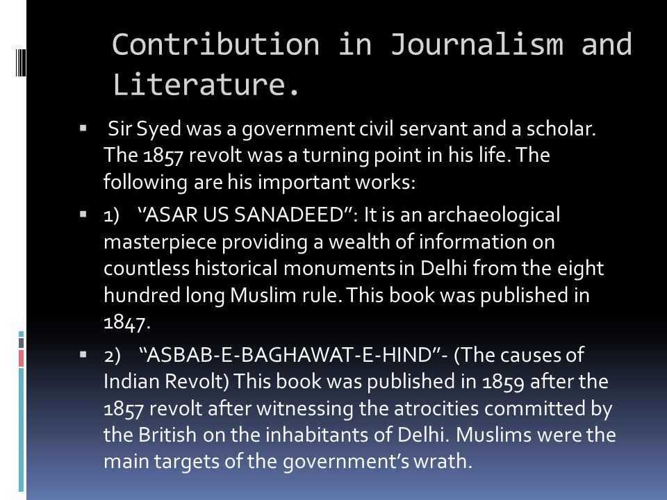 Contribution in Journalism and Literature.